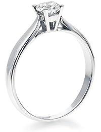 14K Gold / White Round Cut Diamond Simulated Swarovski Pure Brilliance Zirconia Engagement Ring (0.44 cttw)