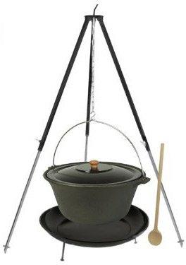 Grillplanet® Gulaschkessel Set 16 L Gusseisen Deckel Gestell Feuerstelle