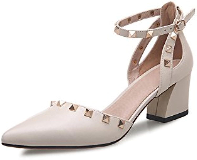 3f84f4f1fbd9a1 MUMA Escarpin 2018 nouvelles sandales pointe d'été  féminine avec épais épais épais avec des talons  hauts rivet ...