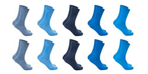 FOOTNOTE I 10 Paar I Blaue Baumwollsocken Damen Herren Ohne Gummi Ohne Naht in Übergröße 47 48 49 50