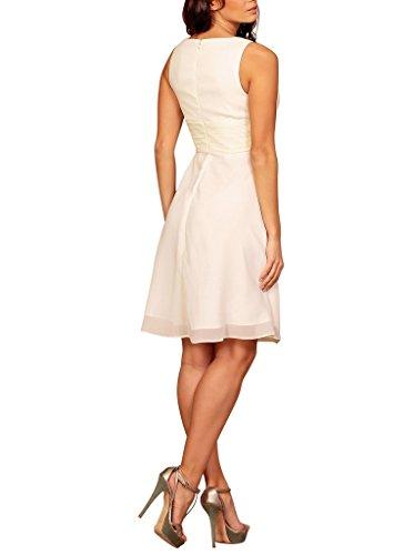 My Evening Dress- Robe de Soirée Col en V en Mousseline de Soie pour Cocktail et Fête Crème