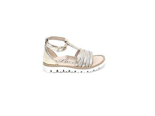 Liu Jo Scarpe Bambina, 23195 Sandalo Pelle Platino Nr 24 E7102
