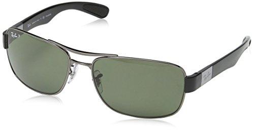 Ray Ban Unisex Sonnenbrille RB3522, Grau (Gestell: Gunmetal, Gläser: Polarized Grün Klassisch 004/9A), X-Large (Herstellergröße: 61)