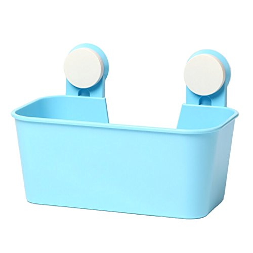 Storage basket Badezimmer-Regal-Shampoo-Gestell-Duschraum-Sich hin- und herbewegender Zahnstangen-Küche-Plastikwand-hängender Speicher-Korb-Größe: 19.7cm * 16.2cm * 28.5cm (Farbe : Blau)