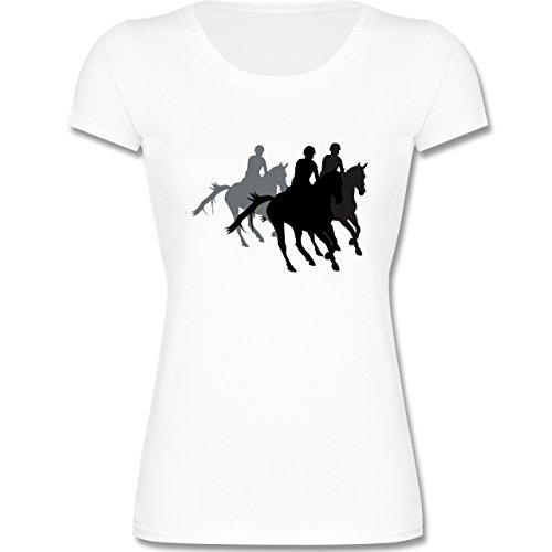 Sport Kind - Freizeitreiten Ausreiten Reiten - 140 (9-11 Jahre) - Weiß - F288K - Kinder Mädchen T Shirt leicht tailliert (Pferd-shirt)