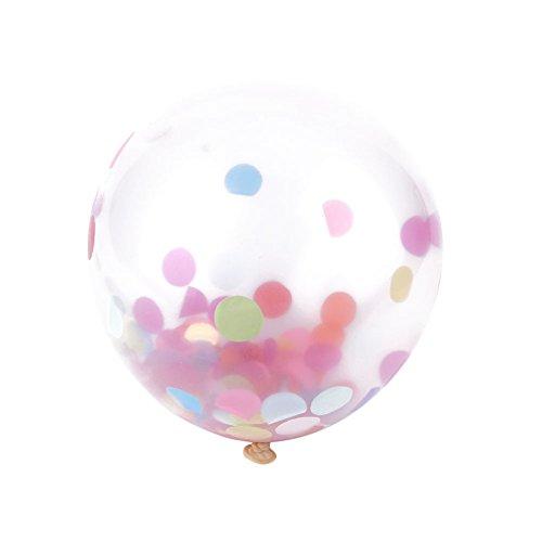 MingXiao 12 Pulgadas de Papel crepé Lleno de Boda Año Decoración de la Fiesta Globos de Confeti Transparente 5 Piezas Dorado Dorado Boda cumpleaños