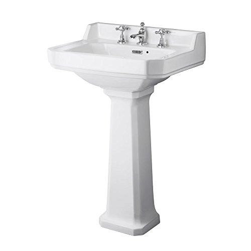 Hudson Reed Standwaschbecken Mote - Sockel-Waschbecken aus Keramik - 3-Loch Säulenwaschbecken Waschplatz für Badezimmer - 905 mm x 595 mm x 470 mm
