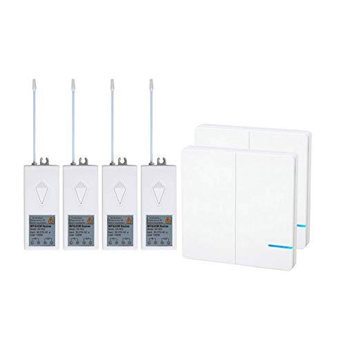 Nineleaf Wifi Lichtschalter Funkschalter Set Lichtschalter mit Alexa Steuerbar Smart Home 2 2-Kanal Lichtschalter, 4 Empf?nger Set.