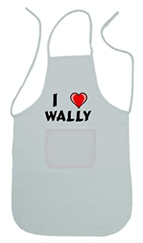 Personalized white apron with text: I love Wally (first name/surname/nickname) by Shopzeus