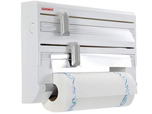 Leifheit portarotoli parat comfortline per 3 rotoli, taglia rotoli preciso e sempre pulito, portarotolo cucina per carta, pellicola e alluminio