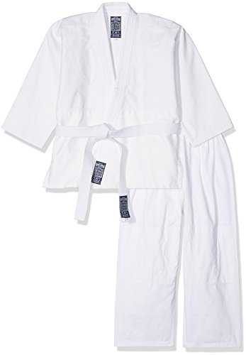 Gimer judo/gi, completo arti marziali unisex bambino, bianco, 140