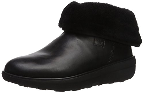 FitFlop Mukluk Shorty 2 Boots - Black Leather 5 UK (Schwarz Mukluks)