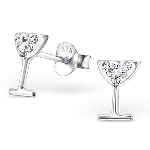 So chic gioielli© orecchini bambino bicchiere da cocktail vino festa aperitivo amici strass cristallo bianco argento 925