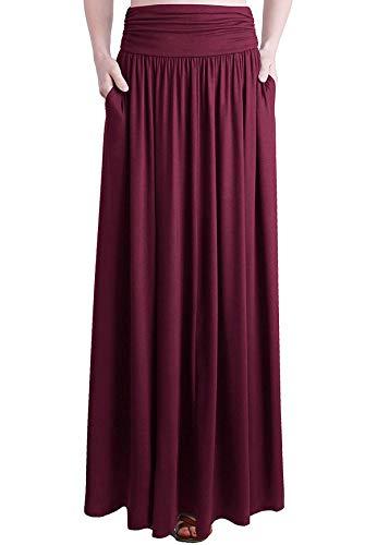 Loxdonz Frauen hohe Taille raffen Maxi Rock Falten uber Lange Röcke mit Taschen (XX-Large / (EU 48/50), Wein)
