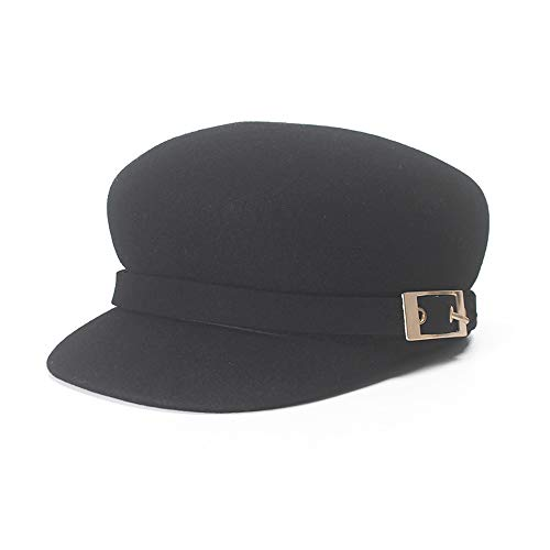 S.Y.MMSY Frauen Hut Baskenmütze Herbst Winter Damen Casual Woolen Achteckige Kappe Legierung Buckle Ornamental Black Top Hat (Farbe : Schwarz, Größe : 56-58CM) (Angel X-men Kostüm)