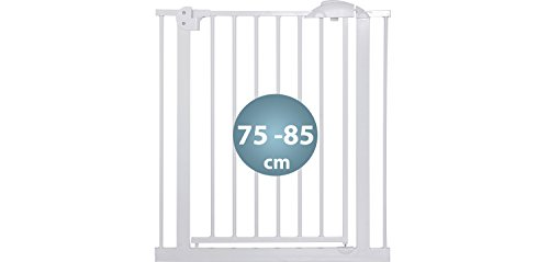 IB-Style – Treppengitter / Türgitter MIKA | Erweiterbar durch Verlängerungen | 75 – 175 cm | Auto-Close – automatisches Schließen | 90° Fixierung | Metall Weiß| Spannbreite 75 – 85 cm - 2