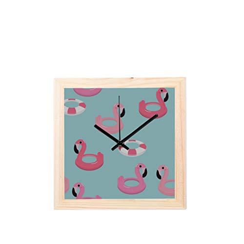 Helles Einhorn oder Flamingo schwimmt im Pool Nicht tickt Square Silent aus Holz Diamond Large Display Digital Batterie Wanduhren Malerei Zifferblatt für Küche Kid Schlafzimmer Home Office Decor (Schwimmt Runde Pool)