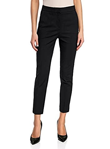 oodji Collection Women's Slim-Fit Trousers with Side Zipper, Black, UK 10 / EU 40 / M