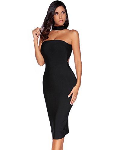 Meilun Les Femmes Bodycon Rayonne Halter Collier Bandage Robe De Cocktail Noir