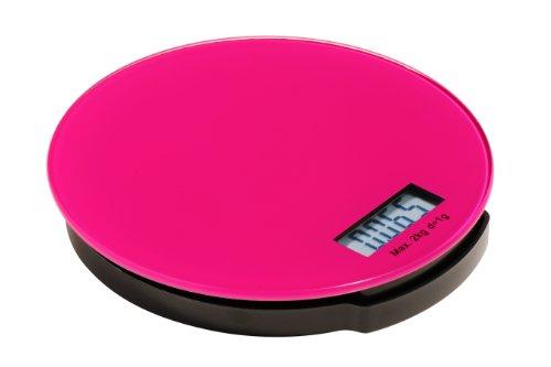 Premier Housewares Zing Elektronische Küchenwaage aus Glas, rund, 2 kg, 3 x 16 x 16 cm, knallig pink