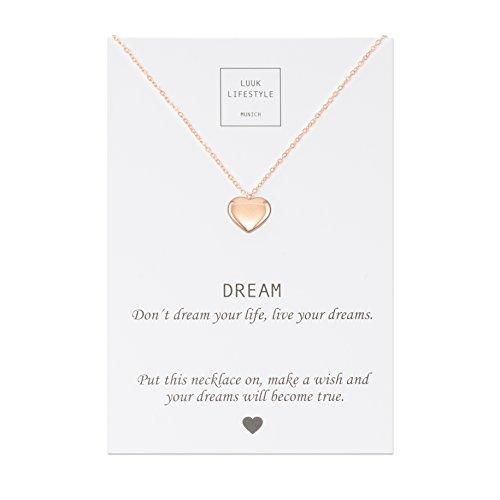 LUUK LIFESTYLE Collar de acero inoxidable con colgante de corazón y cita Dream, joya de mujer, tarjeta de regalo, amuleto, rosé
