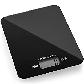 Andrew James Digital Kitchen Scales 5KG Max with Tempered Glass Surface & LCD Display | Weighs in Grams Ounces & ML | Slim Design with Glossy Black Finish | Auto Power Off 90 Secs | Battery Included