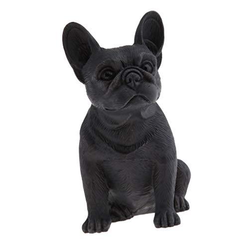 Homyl Hund Skulptur Gartenfigur Tierfigur Hund sitzend, Gartendeko/Tierfigur/Tiermodell - Schwarzes Sitzen -