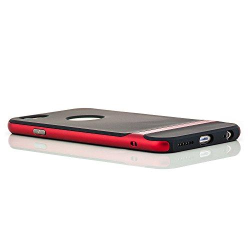 Saxonia Housse De Protection Étui Coque + Protecteur d'écran pour Apple iPhone 6 6S Mince Silikon Case Protecteur Bumper Cover | Transparent-Or Rouge