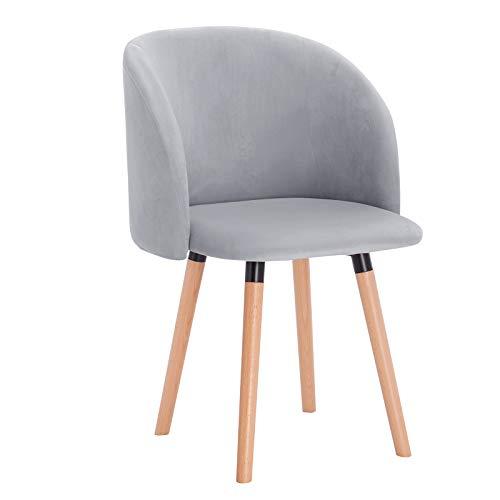 WOLTU Esszimmerstühle BH121gr-1 1x Küchenstuhl Wohnzimmerstuhl Polsterstuhl Design Stuhl mit Armlehne, Sitzfläche aus Samt, Gestell aus Massivholz, Grau -