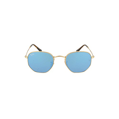 Ray-Ban Mens Hexagonal Flat Lens Sunglasses (RB3548) Gold Shiny/Blue Metal - Non-Polarized - 51mm
