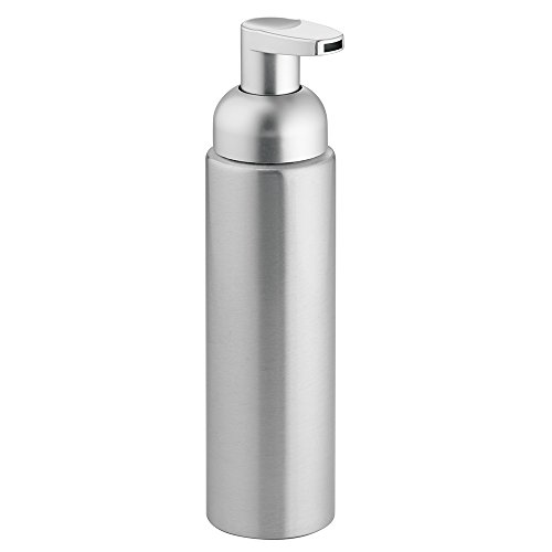 InterDesign Metro Foaming Liquid Soap Dispenser Pump, Made of Aluminium and Plastic, Brushed Silver Coloured, Small