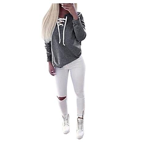 Bluestercool Femmes Automne Casual Sport à manches longues Pull à lacets Tops Chemisier à T-shirt (gris, XL)