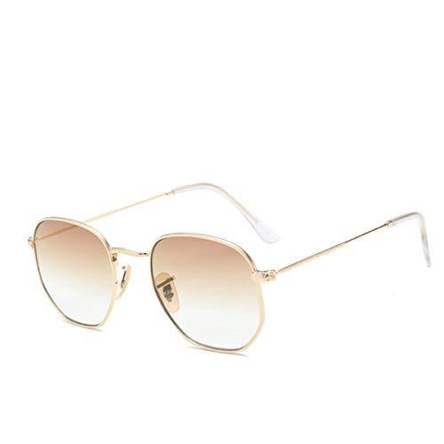 FGRYGF-eyewear Sport-Sonnenbrillen, Vintage Sonnenbrillen, Polygon Frame Metal Square Sunglasses Women Classic Vintage Pilot Sun Glasses Gradient Sunglasses Oculos C2