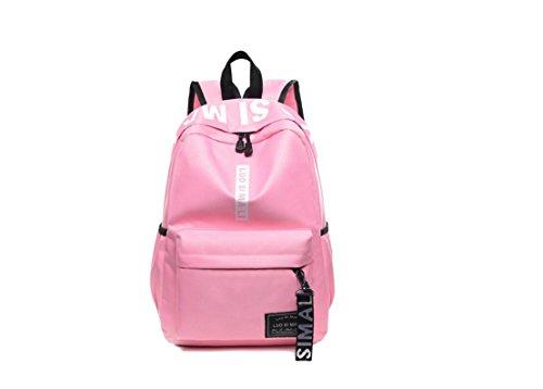 Angleliu Schulrucksack Schulrucksack mit Laptopfach Schultaschen Mädchen Teenager Rucksack Schultasche Canvas Schulrucksäcke für Damen Herren geeignet für 15.6 Zoll Laptop Notebook (Rosa)