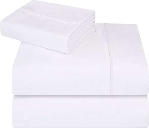 Utopia Bedding - Lenzuola singole - Morbida spazzolata in microfibra antiriflesso Resistente alle macchie e alle macchie (Bianca,Single)