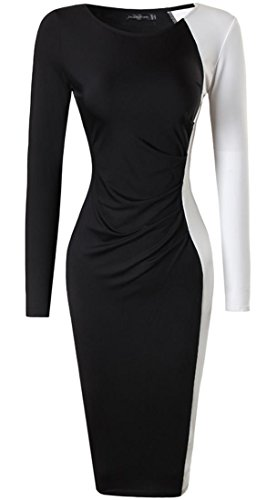 jeansian Donna Moda Fascino Elegante Sottile Noble Partito Abito Gonna Taglia Grossa Dress WKD290 Black M
