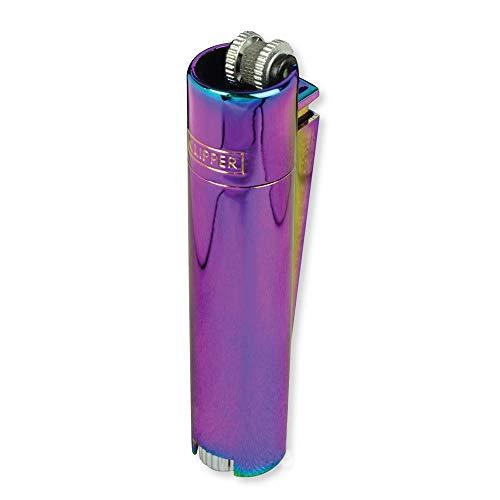 Clipper Metall Gas-Feuerzeug (Rainbow) mit SOFORTGRAVUR +VORSCHAU: Gravur auf Einer Seite (Gasfeuerzeug, nachfüllbar)