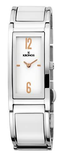 KRONOS - Ceramic Bicolor 933.8.33 - Reloj de señora de Cuarzo, Brazalete de cerámica, Color Esfera...
