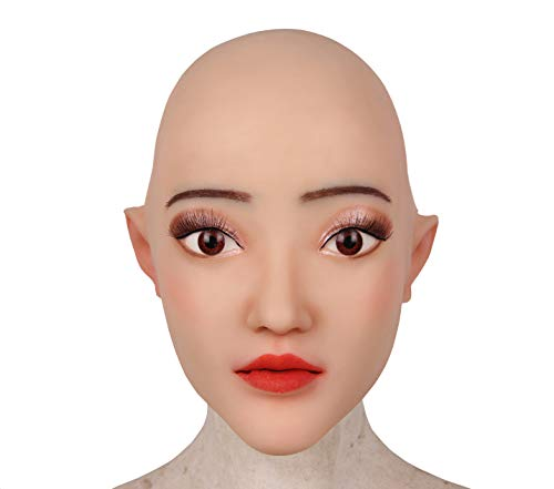 (Ajusen Realistisch Weiblich Kopf Maske Weich Silikon Handgemacht Gesicht für Crossdresser Transgender Halloween-Kostüme)