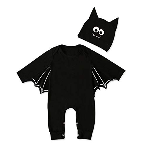 Niedliche Kleinkind Kostüm Skelett - Kleinkind Neugeborenes Baby Jungen Mädchen Halloween Cosplay Kostüm Strampler Hut Outfits Set, Baby Langarm Halloween Cosplay F ermaus Ärmel Strampler + Cartoon Ohr Hut