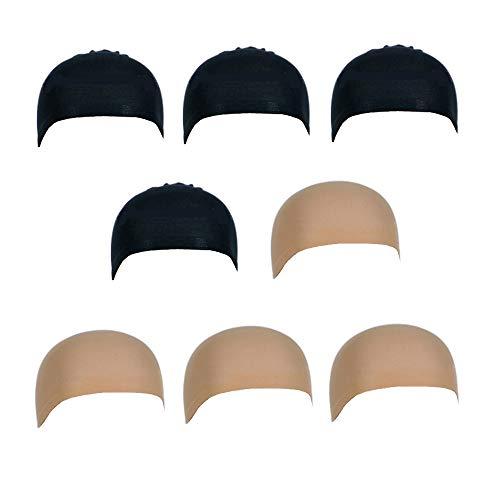 Limeo Retine per Parrucche Nylon Hair Net Elastico Parrucca Cappellino per Capelli Netti Parrucca Cappello 8 Pezzi Parrucca Cappello Nero e Neutro