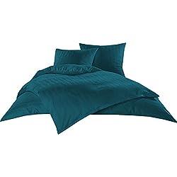 Bettwaesche-mit-Stil Mako Satin Damast Bettwäsche Garnitur Waves Petrol Blau (200 cm x 220 cm + 2X 80x80 Kissen)