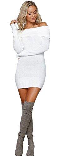ALAIX Damen Schulterfrei Sexy Pullover Oberteile Langarmshirt Tops Weiß (Lambswool Rollkragen-pullover)