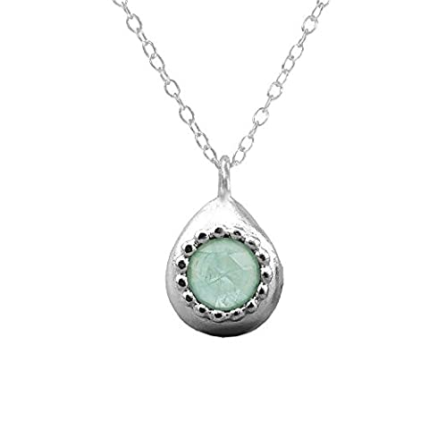 6mm Aquamarine Teardrop Pendant Necklace Blue-Green Genuine Natural Gemstone Sterling Silver Rolo Chain Handmade Jewellery Everyday Necklace Unique Gifts For Women March Birthstone Dainty Jewellery