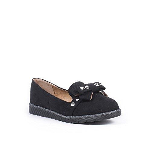 Ideal Shoes Mocassins Effet Daim avec Nœud et Clous Juliette Noir
