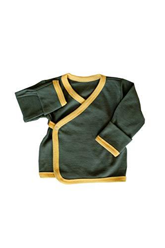 Green Rose Baby T-Shirt aus Merino Wolle (0-3 Monate, Grün) -