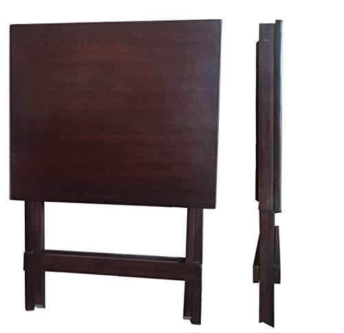 F Plus Multipurpose Wooden Folding Table (18x20x24 Inches WxDxH; Walnut Finish)