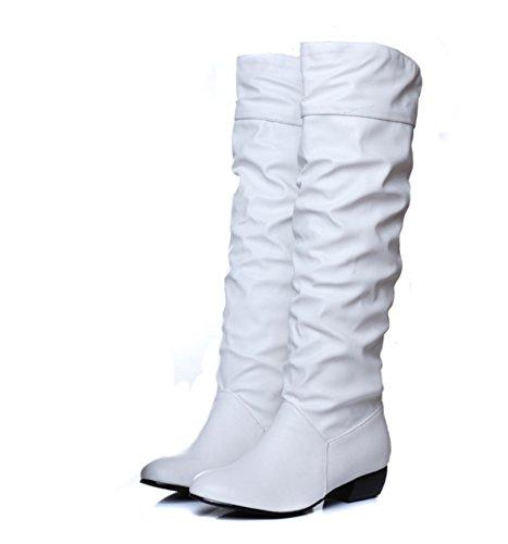 Xianshu Damens Niedriger Absatz Slouch Boots enfiler Mittleres Kalb Boots (Weiß-35.5 EU) (Slouch Schnallen-knie-boot)