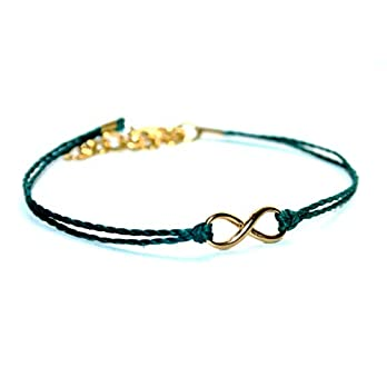 Special SALE – Vergoldetes Mini Infinity Handmade Freundschafts Wachsarmband, petrol, 16-17cm