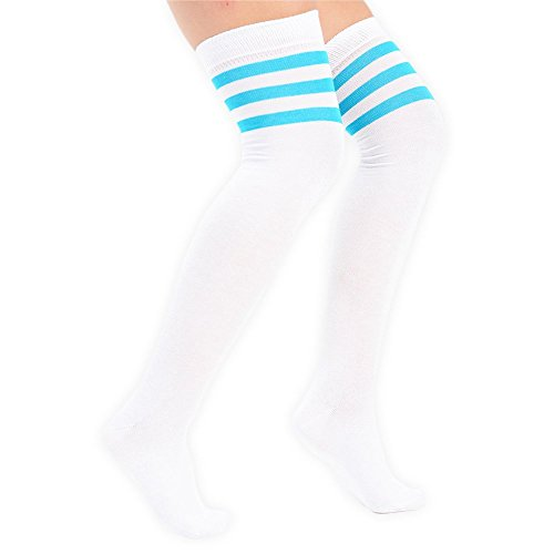 Damen Overknee-Strümpfe mit drei Streifen am Knie, Schiedsrichterstrümpfe, Sportstrümpfe, Kostüm-Strümpfe White with light blue stripes (3 Socken Trainer)